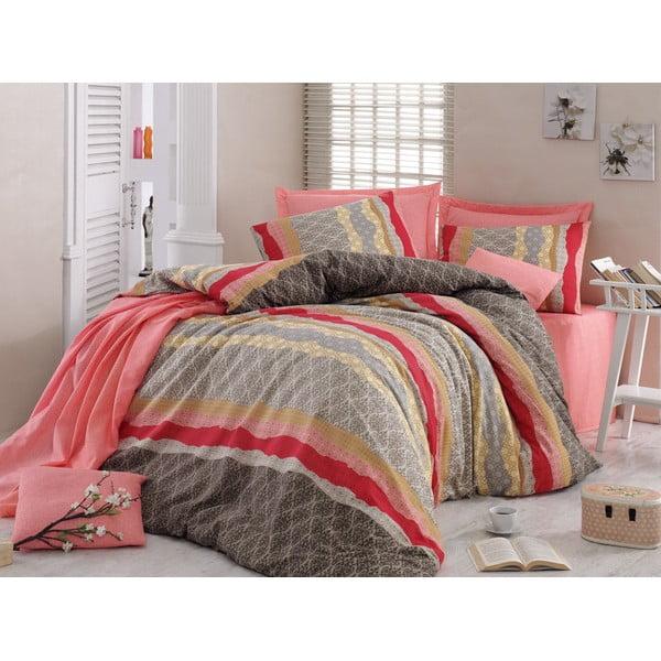 Różowa pościel na łóżko dwuosobowe z prześcieradłem  Love Colors Crimp, 200 x 220 cm