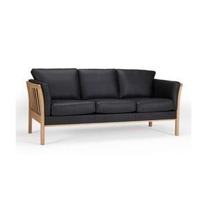 Czarna sofa skórzana trzyosobowa Kragelund Aya