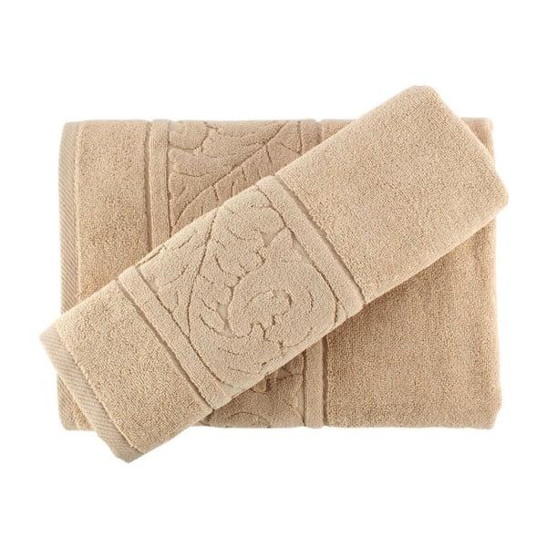 Zestaw beżowego ręcznika i ręcznika kąpielowego Sultan