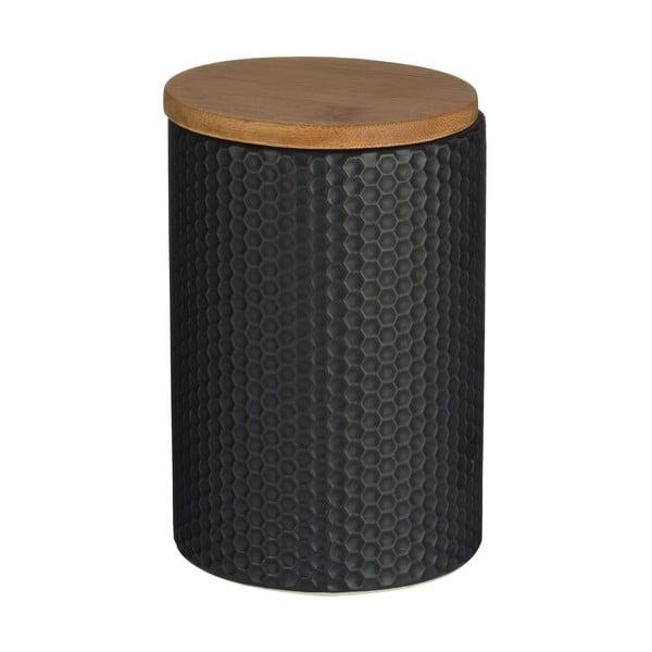 Czarny pojemnik z bambusowym wieczkiem Premier Housewares Black Hex, ⌀10x15cm
