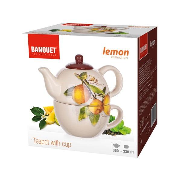 Ceramiczny dzbanek z filiżanką Banquet Lemon, 360/300 ml