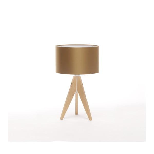 Złota lampa stołowa Artist, brzoza, Ø 25 cm