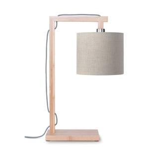 Lampa stołowa z beżowym kloszem i konstrukcją z bambusa Good&Mojo Himalaya