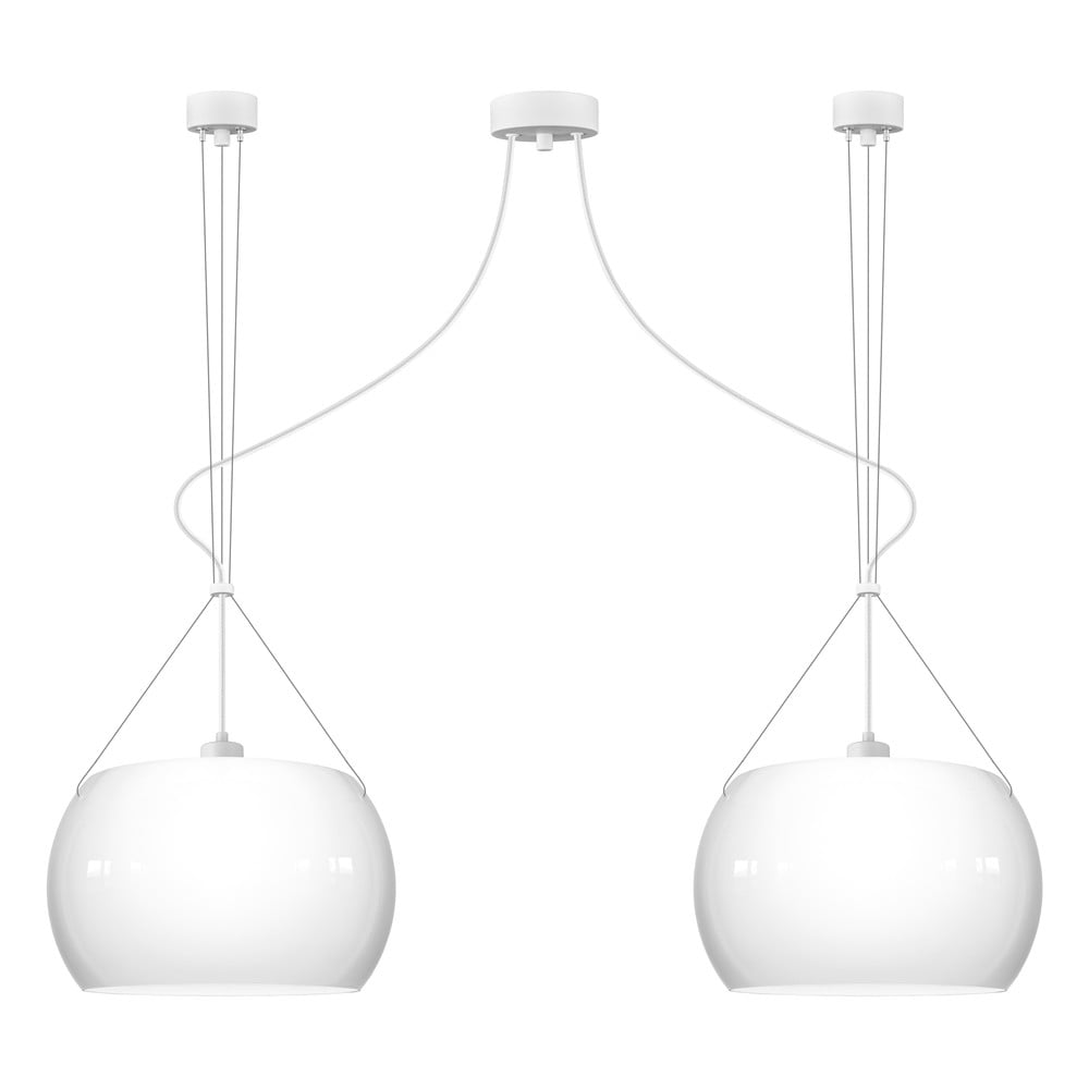 Biała błyszcząca lampa wisząca z 2 oprawkami Sotto Luce MYOO Elementary