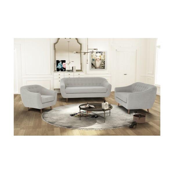 Kremowy zestaw fotela i 2 sof dwuosobowej i trzyosobowej Jalouse Maison Vicky