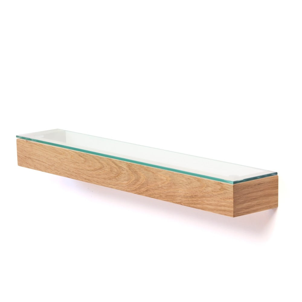 Półka ze szklanym blatem z drewna dębowego Wireworks Mezza, 55 cm