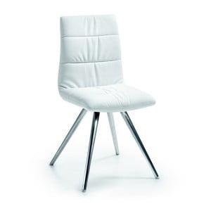 Białe krzesło z chromowanymi nogami La Forma Lark2