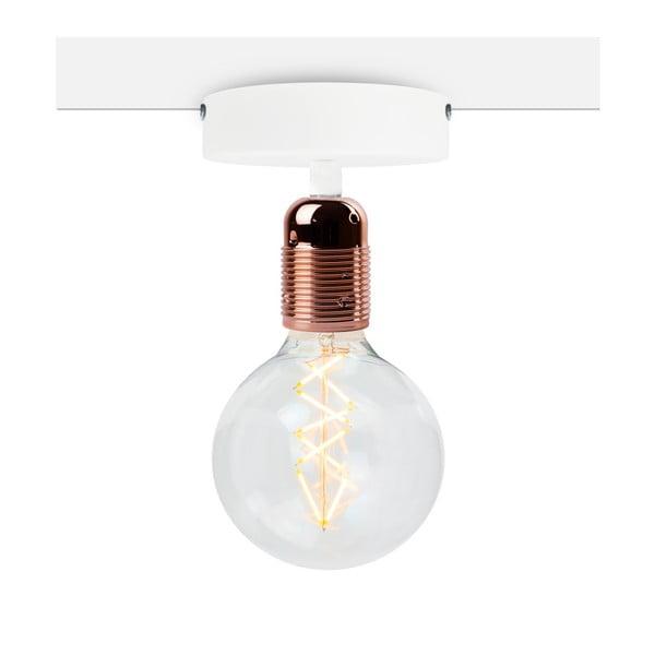 Biała lampa sufitowa z oprawą żarówki w kolorze miedzi Bulb Attack Uno Basic