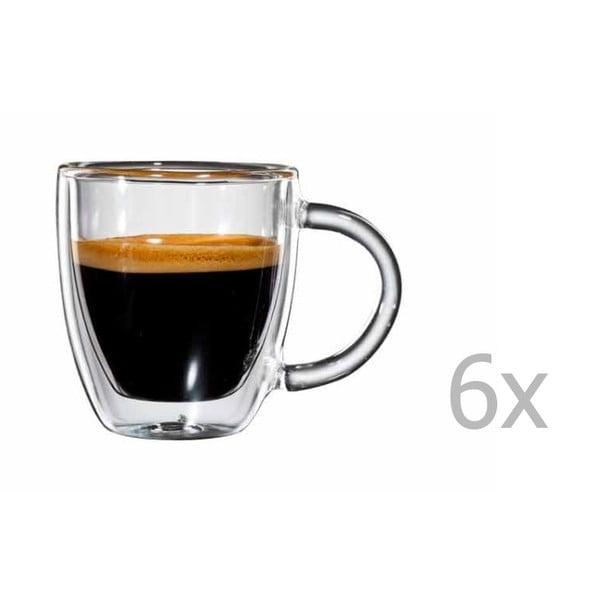 Zestaw  6 szklanych filiżanek na espresso z uchem bloomix Verona