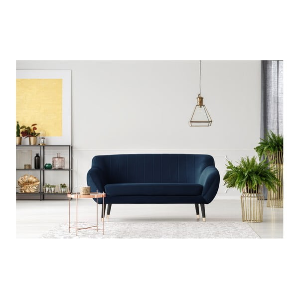 Granatowa sofa 2-osobowa z czarnymi nogami Mazzini Sofas Benito