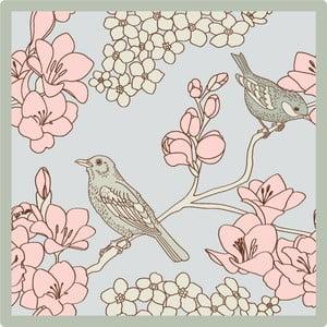Zestaw 2 mat stołowych Pink Birds, 20x20 cm