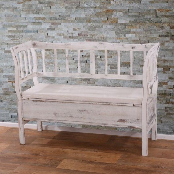 Biała ławka ze schowkiem Mendler Shabby