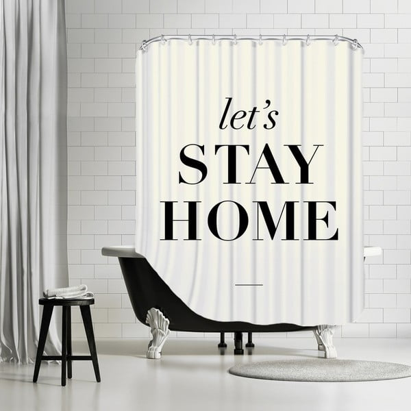 Zasłona prysznicowa Let's Stay Home, 180x180 cm