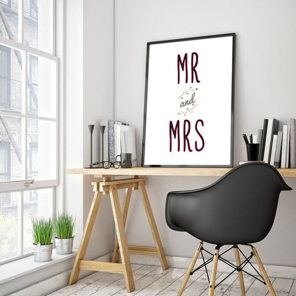 Plakat w drewnianej ramie Mr. and Mrs., 38x28 cm