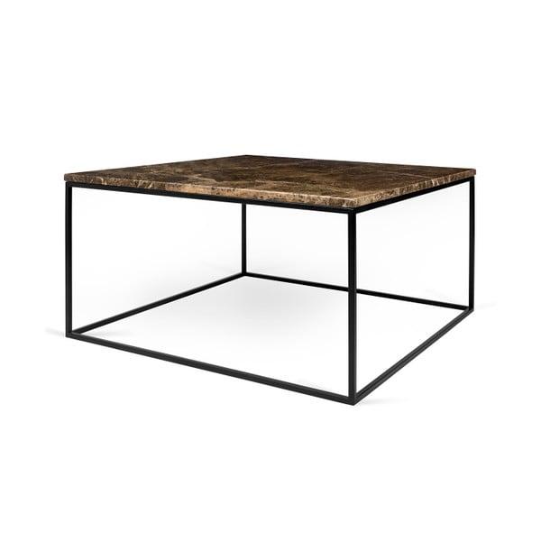 Brązowy stolik marmurowy z czarnymi nogami TemaHome Gleam, 75 cm