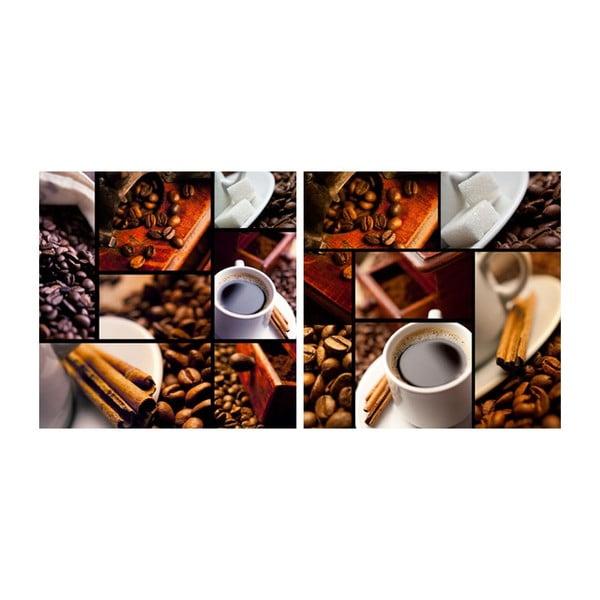 Zestaw obrazów na szkle Kawa, 30x30 cm, 2 szt