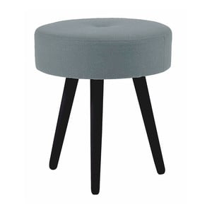 Szary okrągły stołek z drewna dębowego z czarnymi nogami Folke Hermod