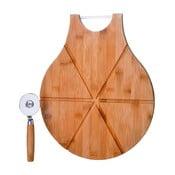 Komplet deski bambusowej z nożem do pizzy Unimasa Cutter