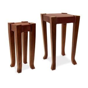 Zestaw 2 skórzanych stolików Auxiliary