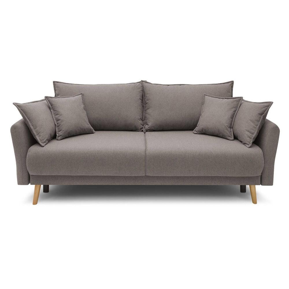 Brązowoszara rozkładana sofa Bobochic Paris Mia