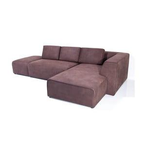 Bordowa sofa z szezlongiem po prawej stronie Kare Design Infinity Antique