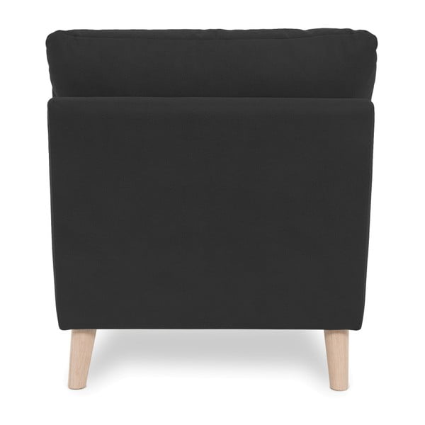 Antracytowy fotel z jasnymi nogami Vivonita Bill