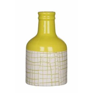 Żółto-biały wazon ceramiczny Mica Fabio, 17x9,5cm