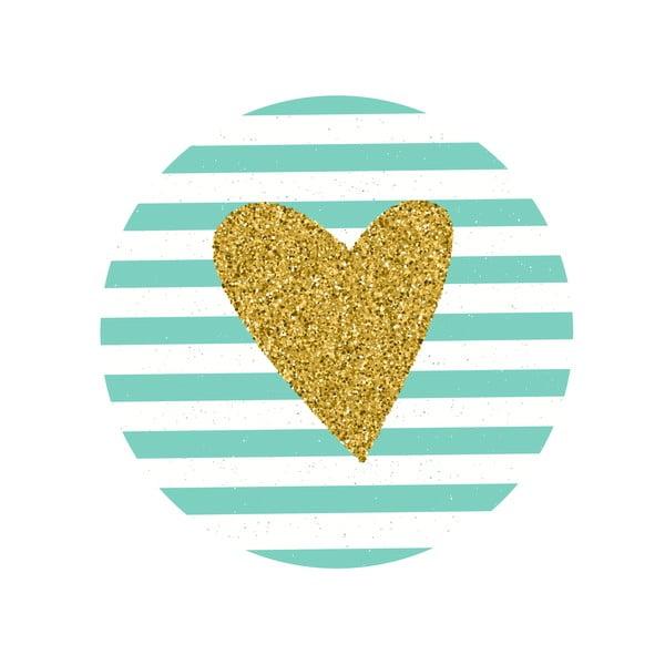 Zestaw 2 stolików Gold Heart, 35 cm + 49 cm