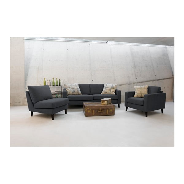 Antracytowa sofa 3-osobowa z jasnymi nogami Vivonita Tom