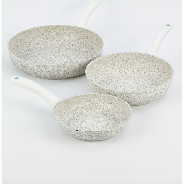 Zestaw 3 patelni z białą rączką Bisetti Stonewhite