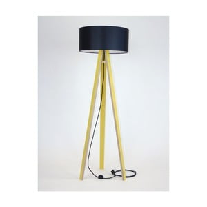 Żółta lampa stojąca z czarnym abażurem i czarnym kablem Ragaba Wanda