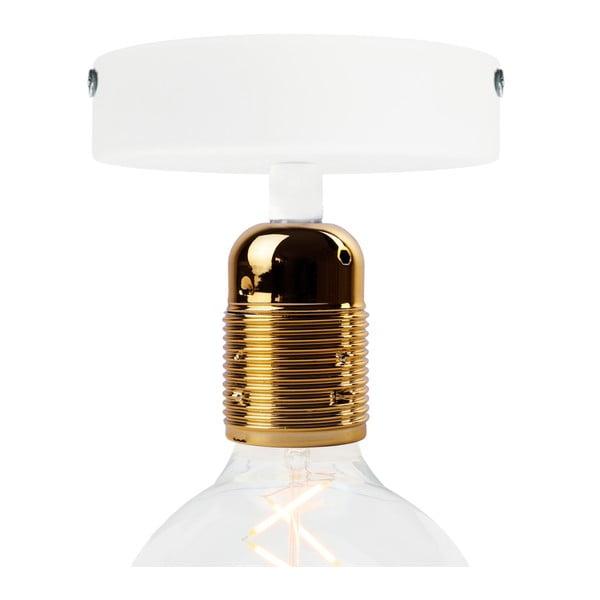 Biała lampa sufitowa z oprawą żarówki w kolorze złota Bulb Attack Uno Basic