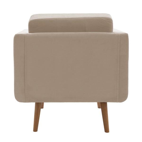 Fotel VIVONITA Sondero, beżowy, brązowe nogi