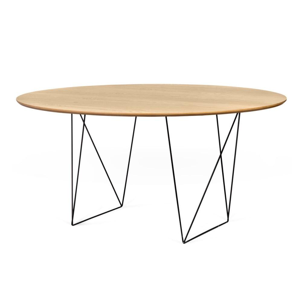 Stół w kolorze dębu z czarnymi nogami TemaHome Row, ⌀ 150cm