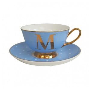 Niebieska   filiżanka ze spodkiem z literą M Bombay Duck