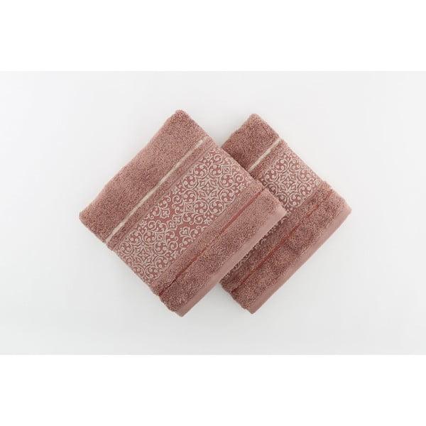 Zestaw 2 brazowych ręczników kąpielowych Giselle, 70x140 cm