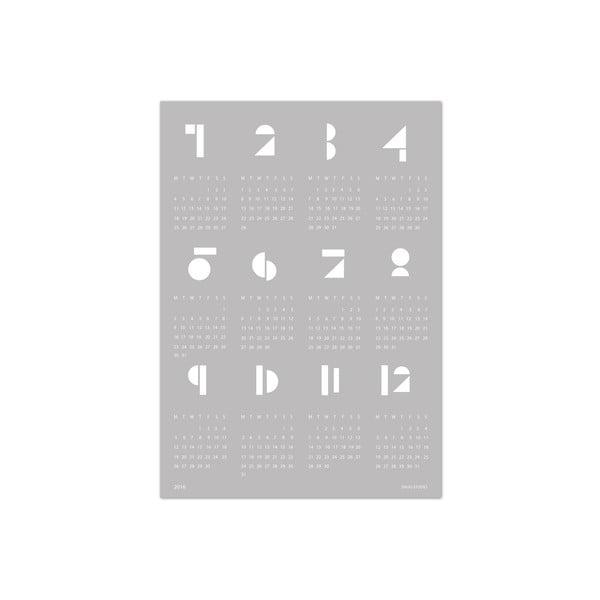 Szary kalendarz ścienny SNUG.Toy Blocks 2017