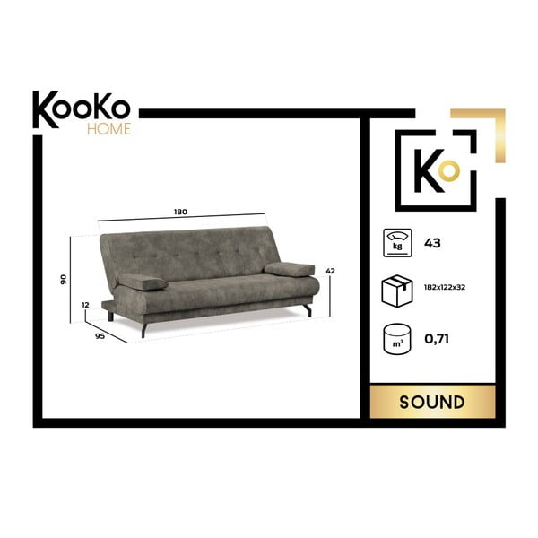 Ciemnobrązowa rozkładana regulowana sofa 3-osobowa z pokryciem skóropodobnym Kooko Home Sound