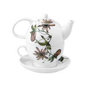 Porcelanowy dzbanek na herbatę i filiżanka Flutter