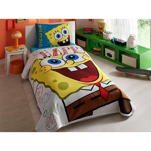 Narzuta, poszewka na poduszkę i prześcieradło Spongebob, 160x230 cm