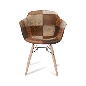 Hnědá jídelní židle s nohami z bukového dřeva Furnhouse Flame Patch