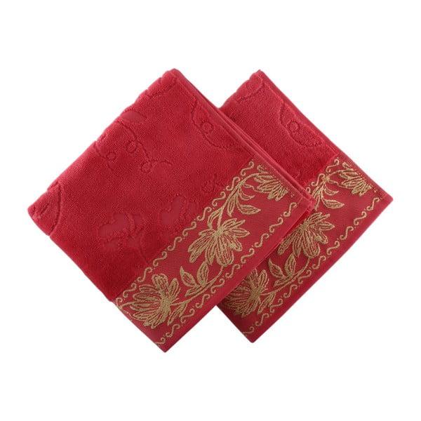 Zestaw 2 ciemnoróżowych ręczników Asu, 50x90 cm