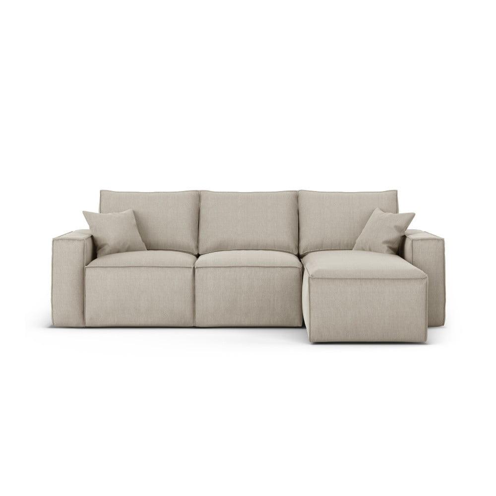 Beżowa narożna sofa prawostronna Cosmopolitan Design Miami