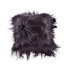 Poduszka futrzana z długim włosiem Blacky, 35x35 cm