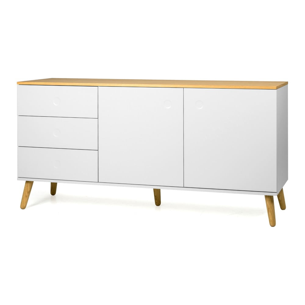 Biała 2-drzwiowa komoda z detalami w dekorze drewna dębowego i 3 szufladami Tenzo Dot