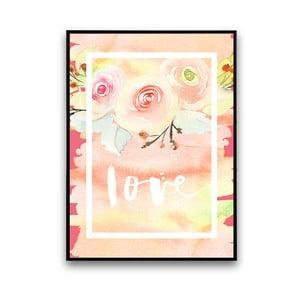 Plakat z kwiatami Love, 30 x 40 cm