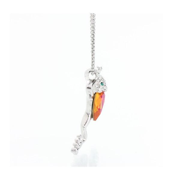 Naszyjnik ze Swarovski Elements, pomarańczowa żaba