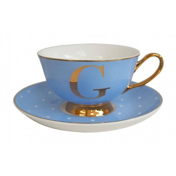 Niebieska   filiżanka ze spodkiem z literą G Bombay Duck