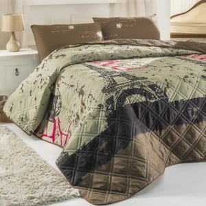 Pikowana narzuta z poszewkami na poduszki Paris Beige, 200x220 cm