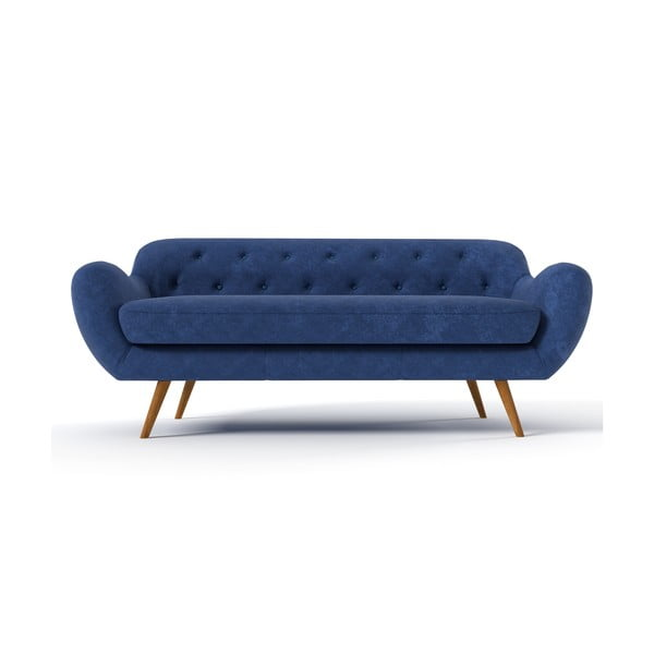 Granatowa   sofa trzyosobowa Wintech Zefir